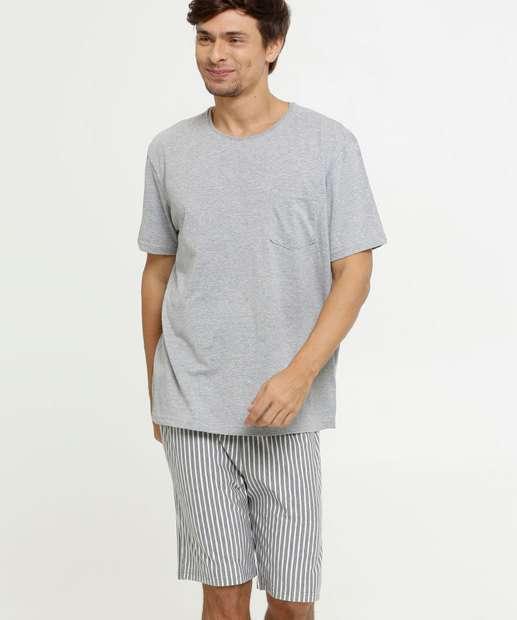 Image_Pijama Masculino Listrado Bolso Manga Curta