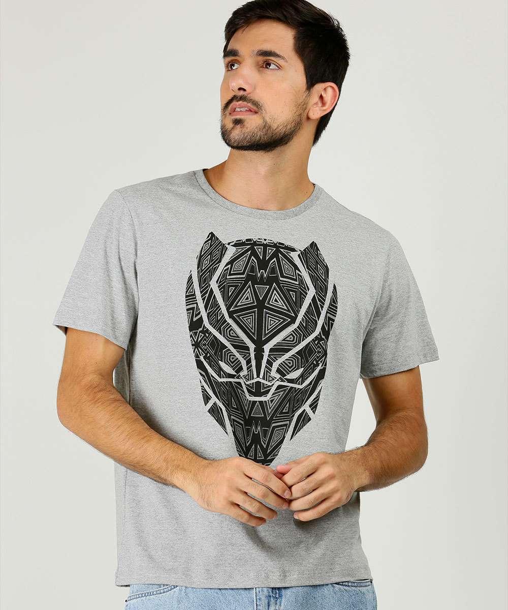 Camiseta Masculina Pantera Negra Manga Curta Marvel