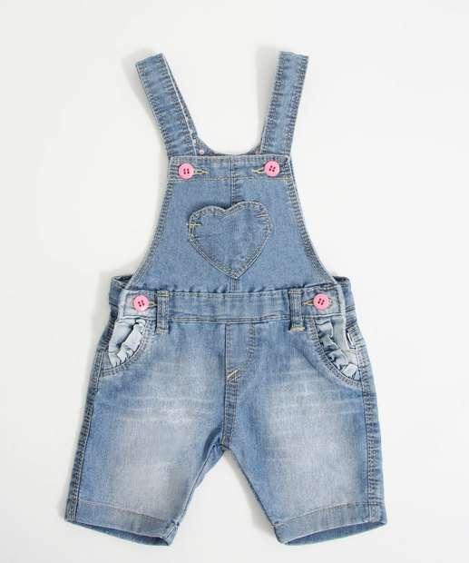 Image_Jardineira Infantil Bebê Jeans Coração