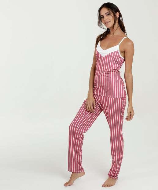 8c7fef0db Pijama Feminino Listrado Alças Finas Marisa