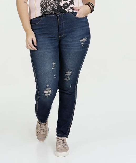Image_Calça Feminina Jeans Puídos Plus Size Razon