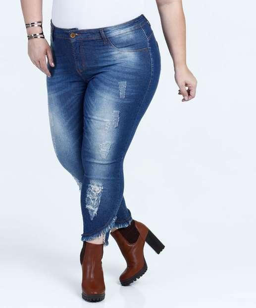 Image_Calça Feminina Jeans Cigarrete Plus Size Mix Jeans