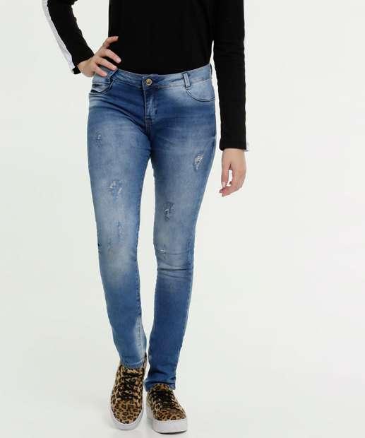 Image_Calça Jeans Skinny Puídos Juvenil