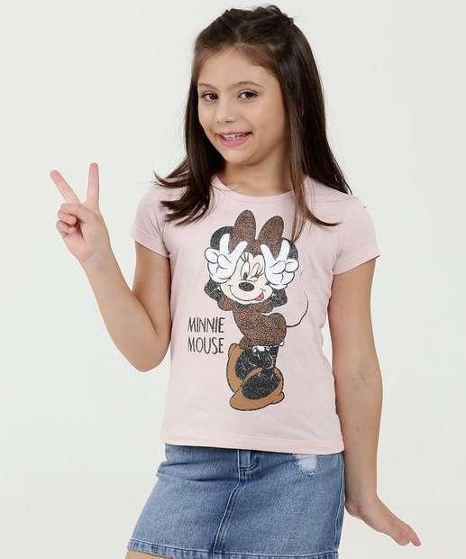 Image_Blusa Infantil Estampa Minnie Brilho Manga Curta Disney
