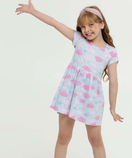 Image_Vestido Infantil Estampa Nuvens Manga Curta