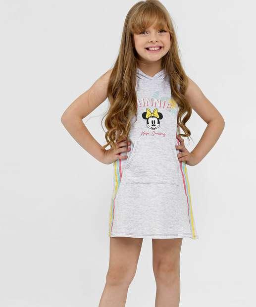 Image_Vestido Infantil Moletinho Capuz Estampa Minnie Disney
