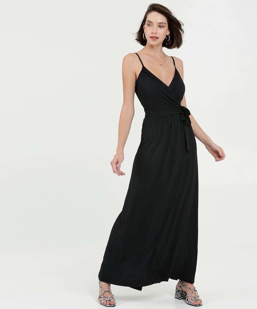 Vestido Feminino Longo Transpassado Alças Finas