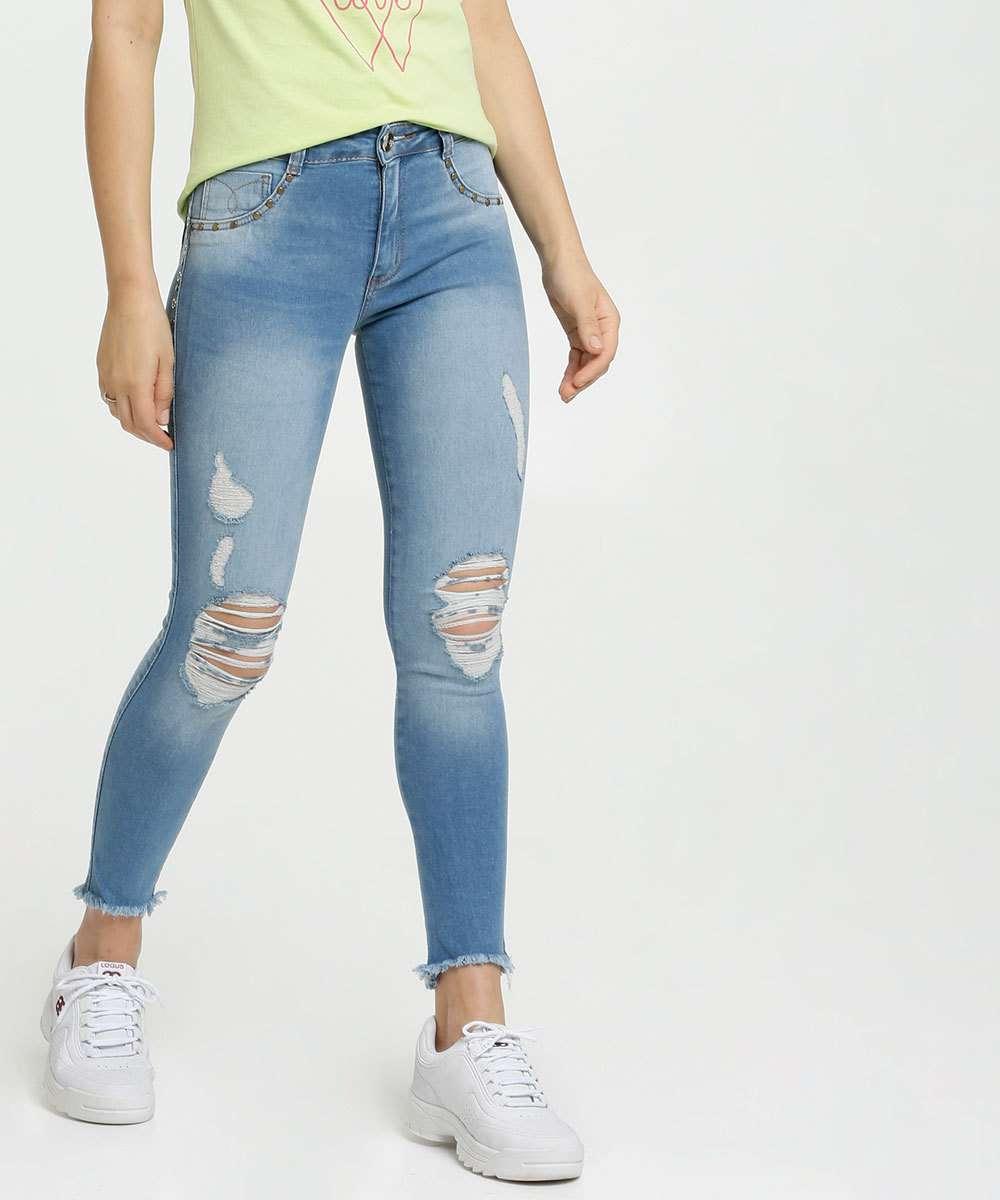 Calça Feminina Jeans Cigarrete Destroyed Biotipo
