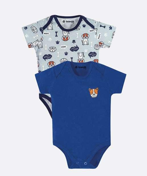 Image_Kit 2 Body Infantil Bebê Cachorro Manga Curta Brandili