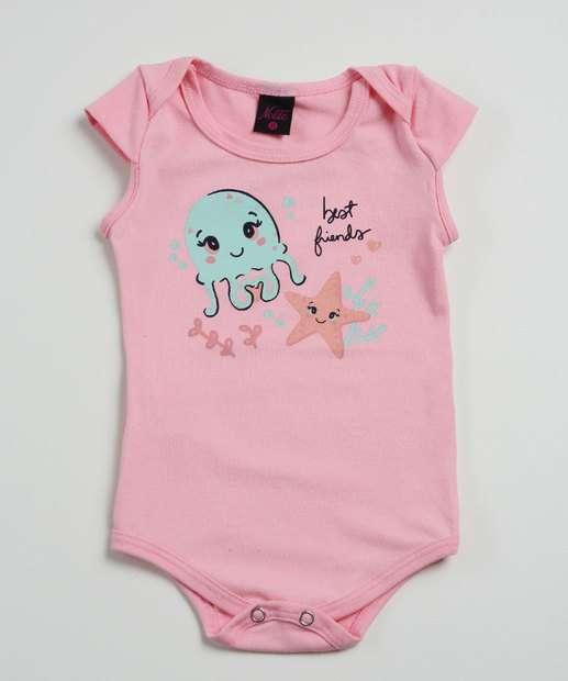Image_Body Infantil Bebê Estampado Com Manga Tam 0 a 10 Meses