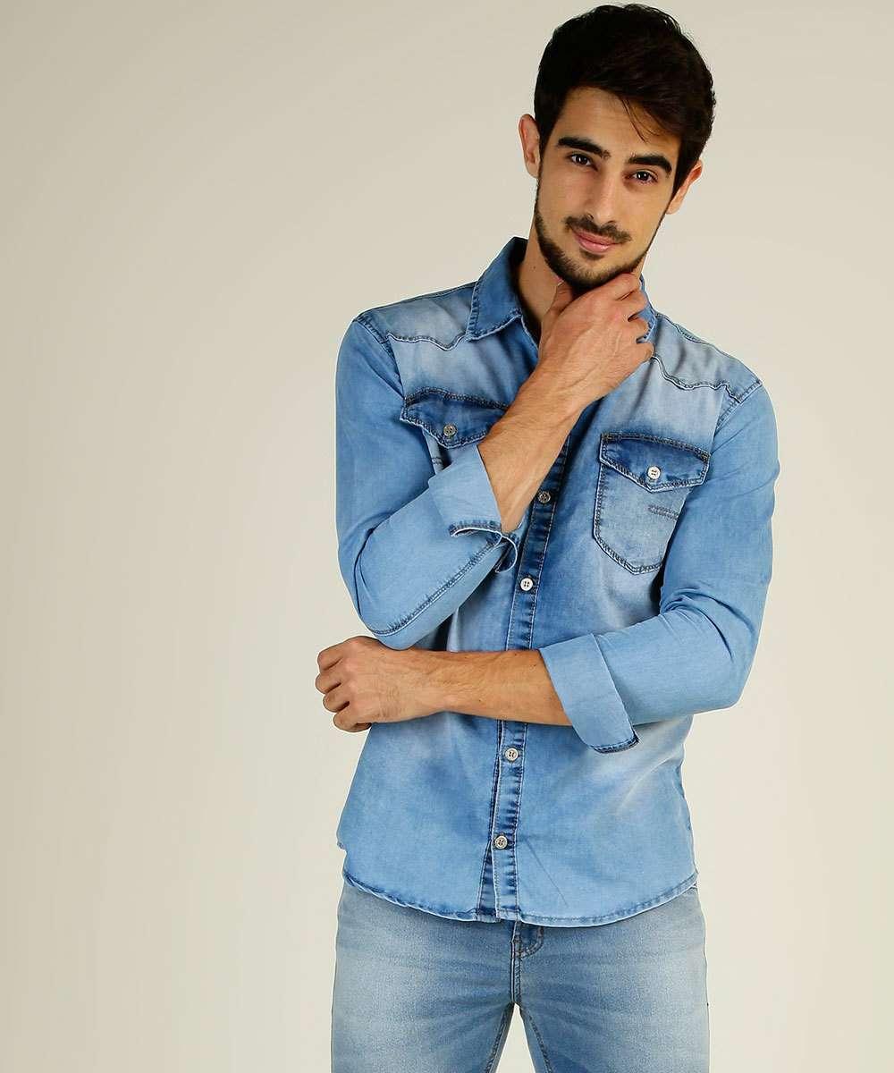 Camisa Masculina Jeans Botões