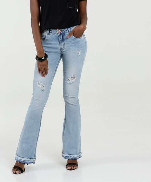 64b62b7b2 Calça Feminina Flare Puídos Zune Jeans By Sabrina Sato