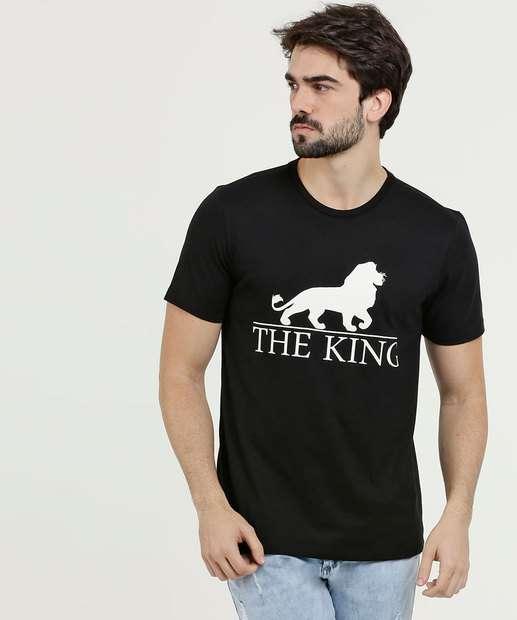 73daa87d4a Camiseta Masculina Estampa Rei Leão Manga Curta Disney
