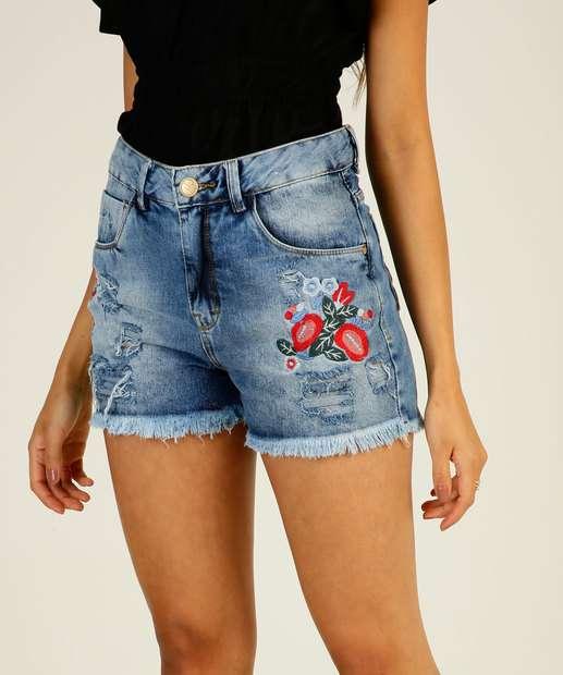 Image_Short Feminino Destroyed Bordado Floral Uber Jeans