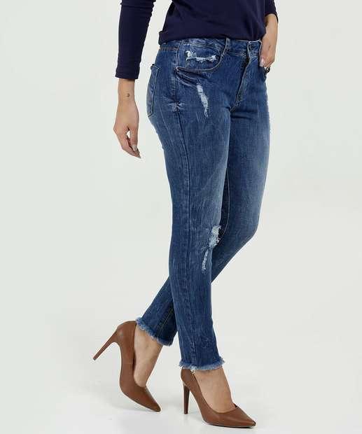 ef0614f56 Calça Feminina Jeans Skinny Destroyed Marisa
