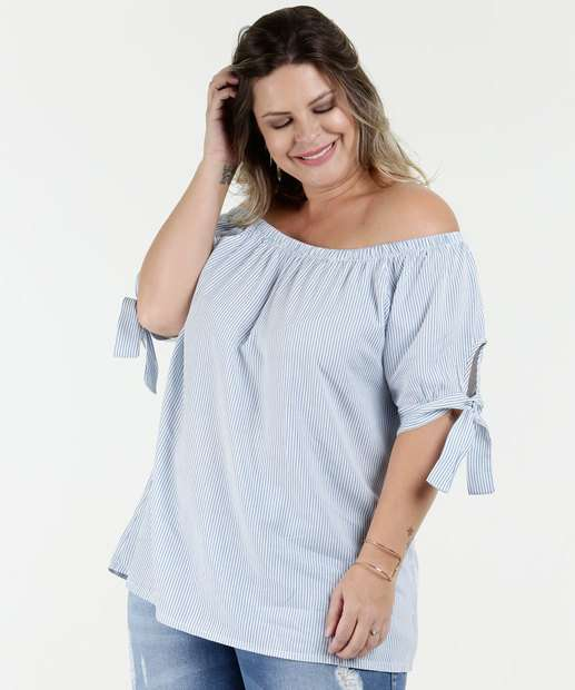 Image_Blusa Feminina Ombro a Ombro Listrada Plus Size Marisa