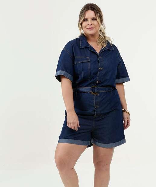 Image_Macaquinho Feminino Jeans Plus Size Manga Curta Razon