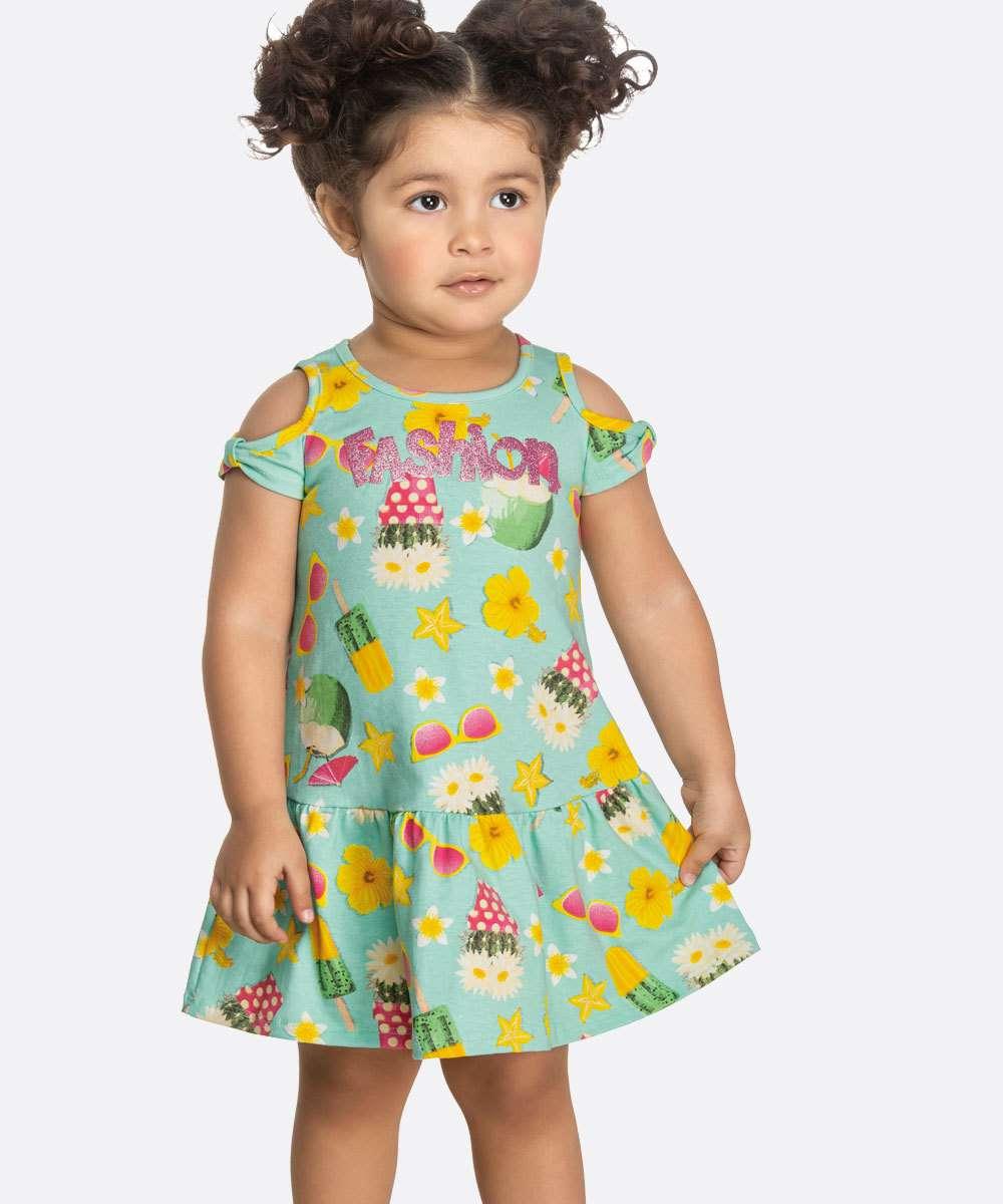 Vestido Infantil Open Shouder Estampado Tam 1 a 3