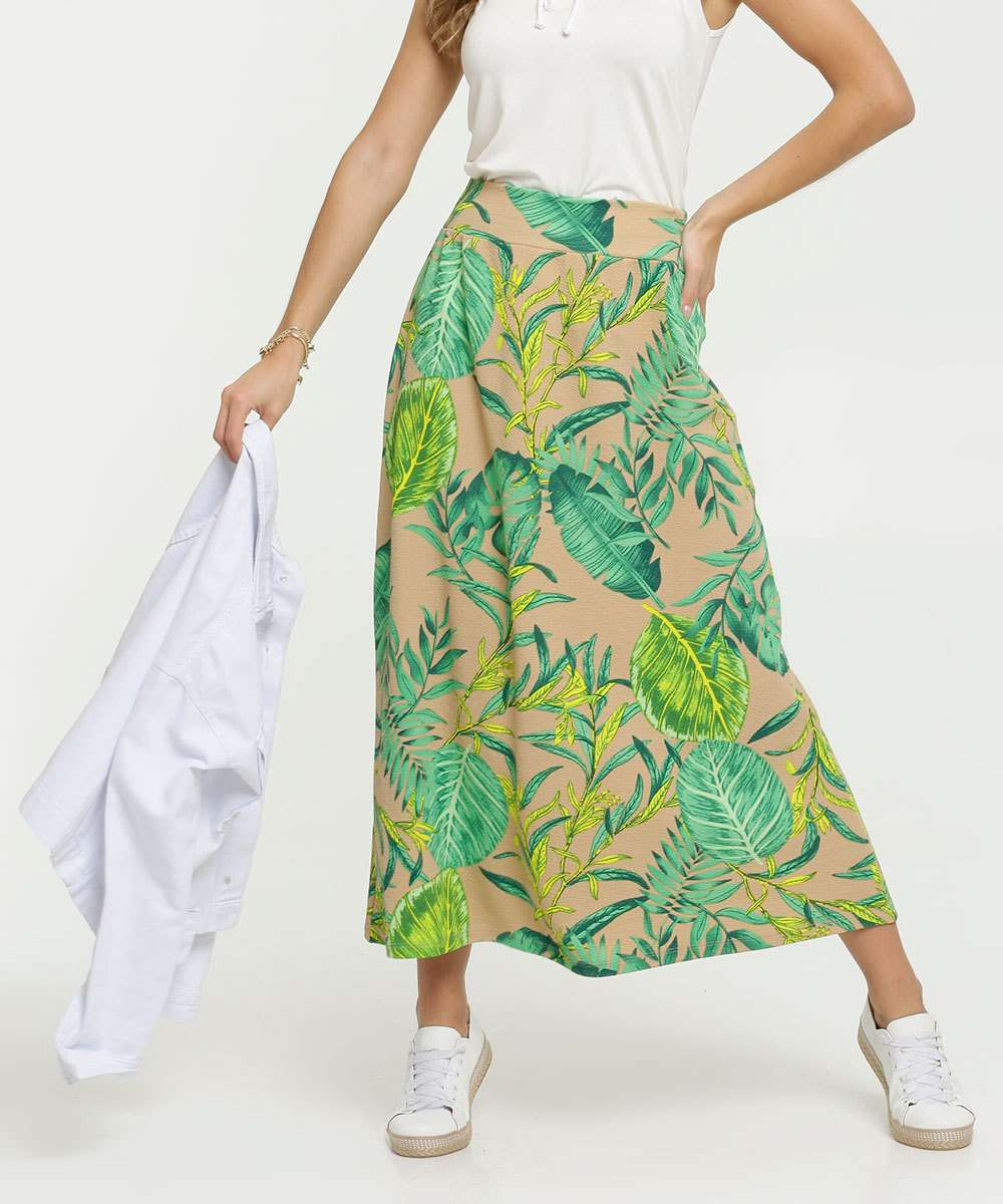 Saia Feminina Midi Estampa Tropical