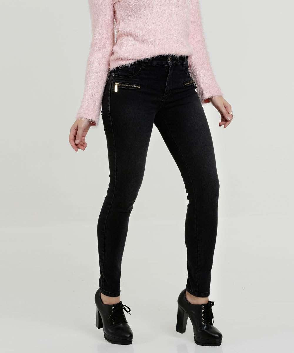 Calça Feminina Jeans Skinny Zíper Sawary
