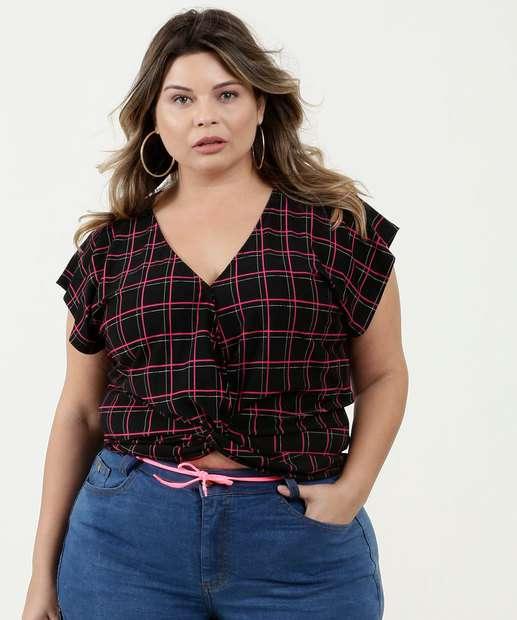 Image_Blusa Feminina Estampa Quadriculada Plus Size Marisa
