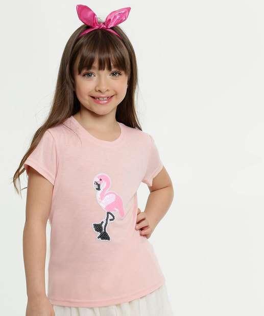 Image_Blusa Infantil Estampa Flamingo Brinde Manga Curta Marisa