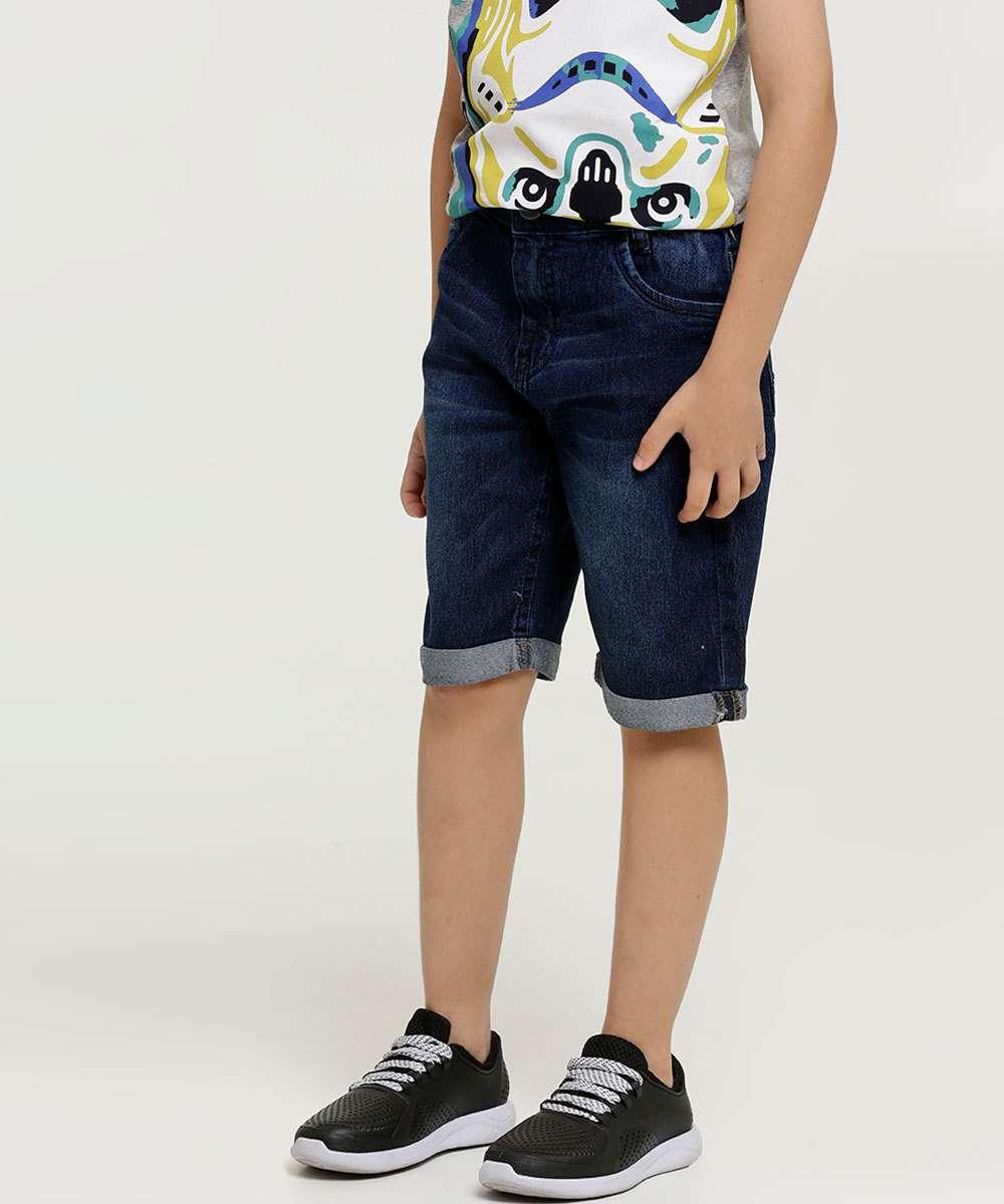 Bermuda Infantil Jeans Barra Dobrada
