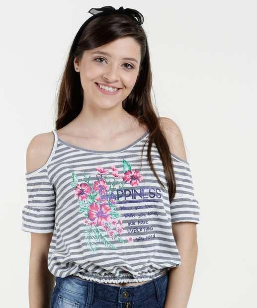 Image_Blusa Juvenil Open Shoulder Estampa Floral Marisa