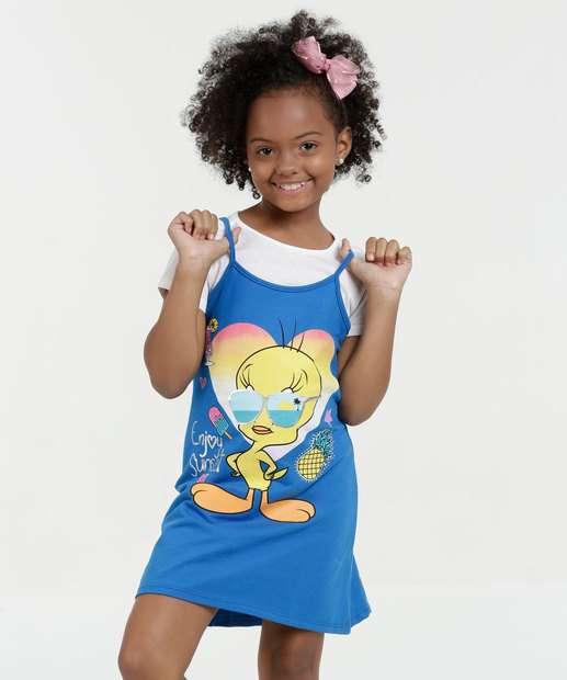 Image_Vestido Infantil Estampa Piu Piu Manga Curta Warner Bros