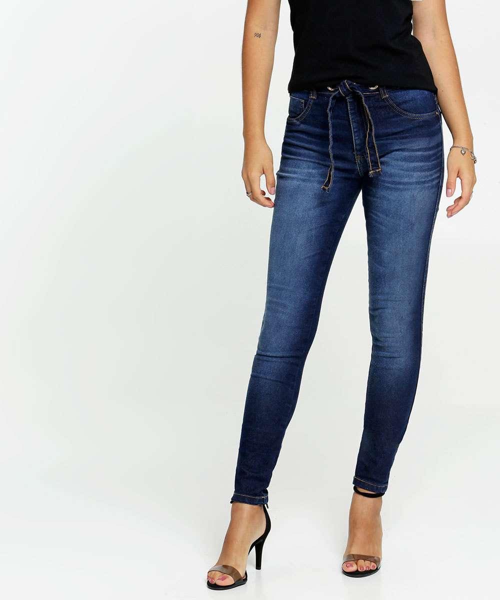 Calça Jeans Skinny Feminina Tiras Amarração Biotipo