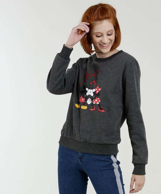 Image_Blusão Feminino Moletom Estampa Mickey Minnie Disney