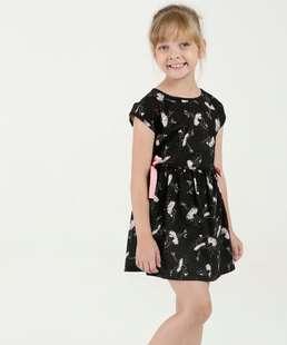 Vestido Infantil Estampa Bailarina Manga Curta Marisa