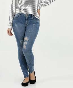 6264e7de8 Calça Feminina Jeans Skinny Faixa Colorida Marisa | Marisa