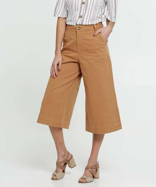 Image_Calça Feminina Pantacourt Sarja Bolsos Zune Jeans