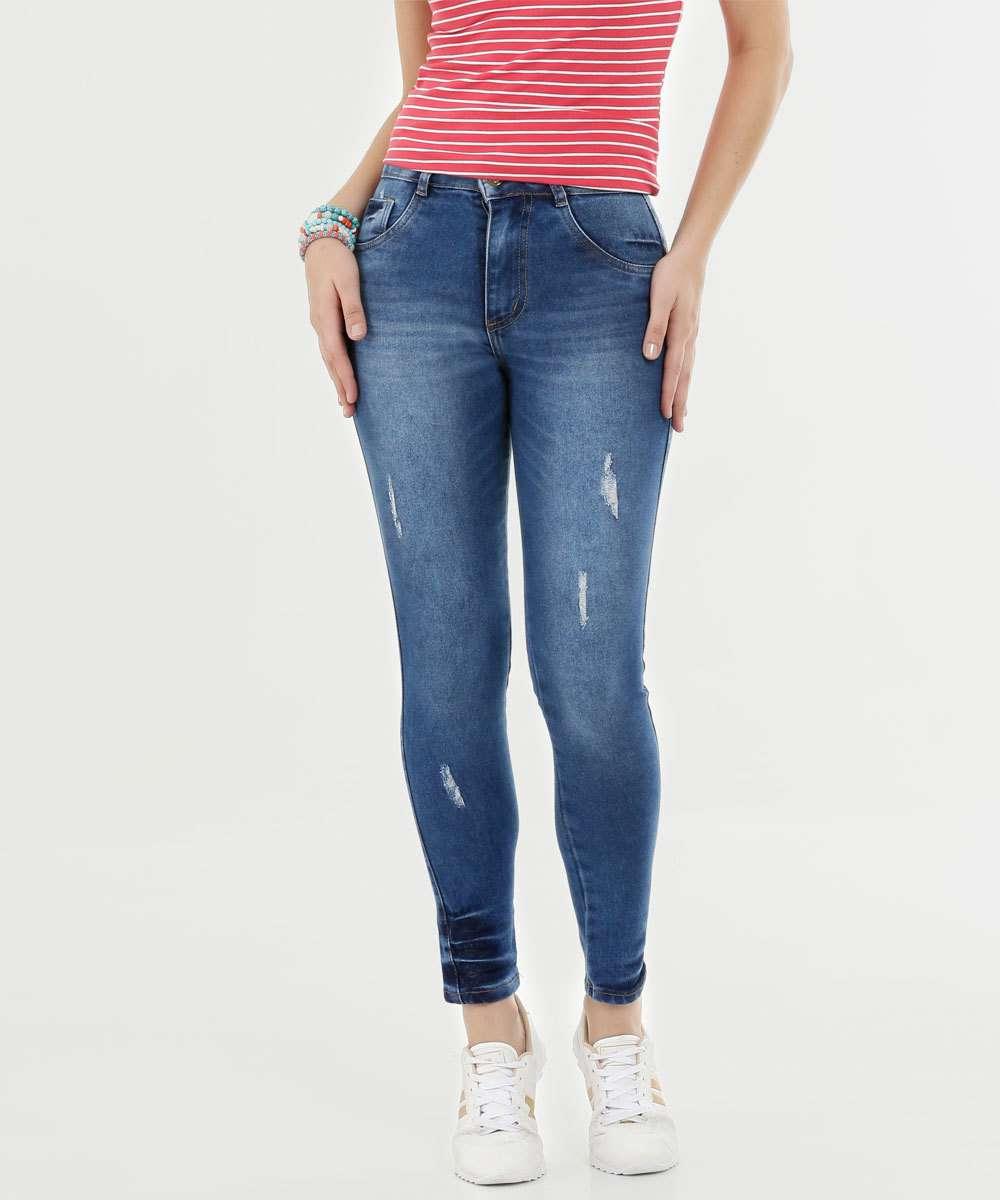 Calça Feminina Jeans Cigarrete Puídos Biotipo