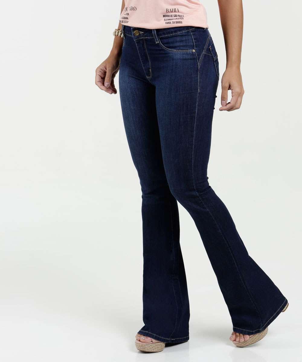 Calça Feminina Jeans Flare Sawary
