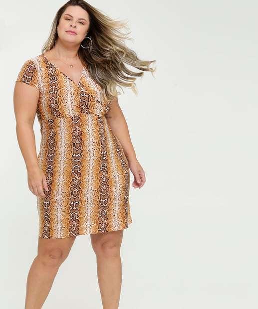 Image_Vestido Feminino Transpassado Animal Print Plus Size
