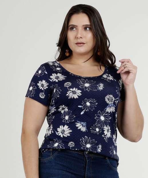 Image_Blusa Feminina Estampa Floral Plus Size Manga Curta Marisa