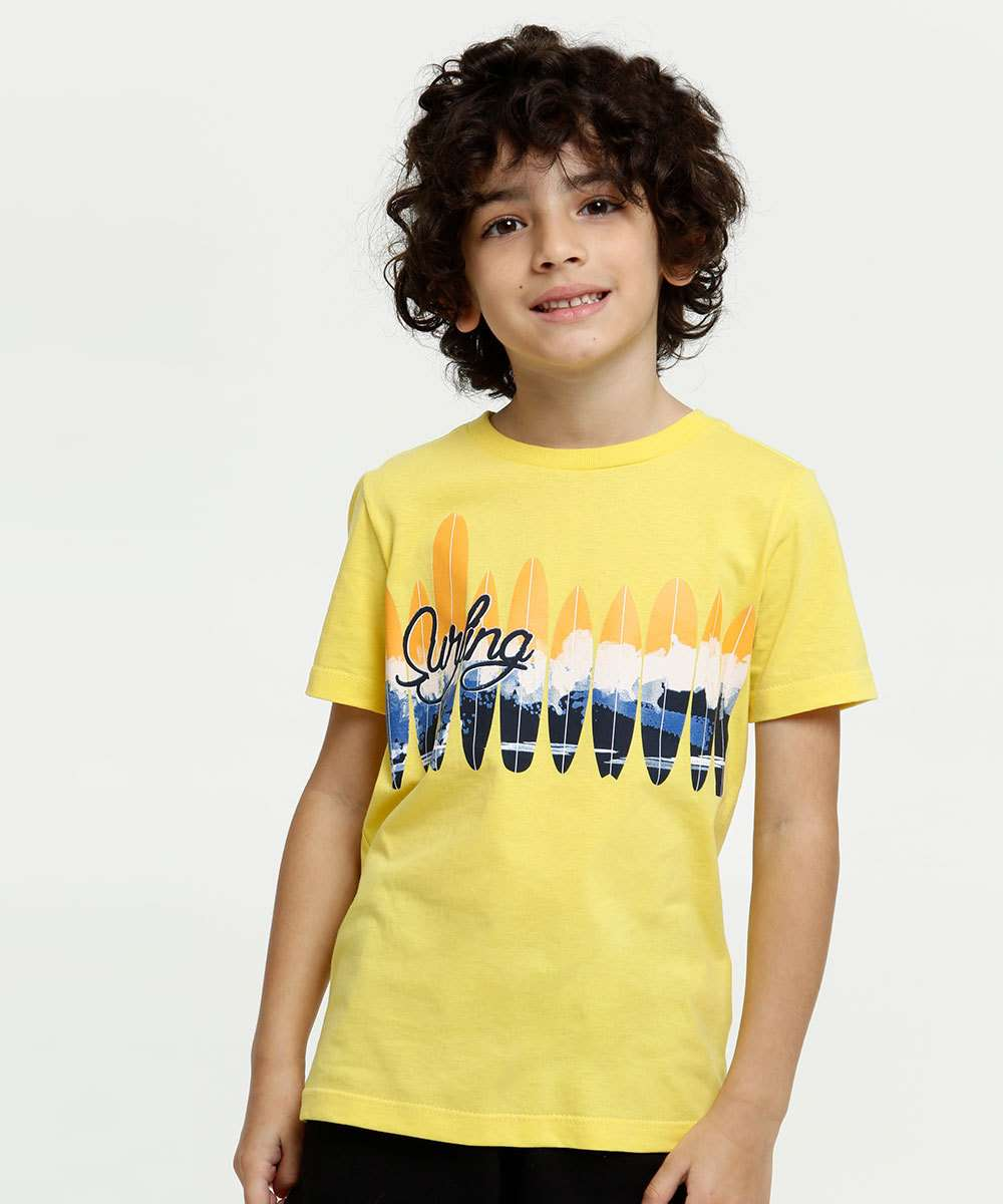 Camiseta Infantil Estampa Surf Manga Curta MR