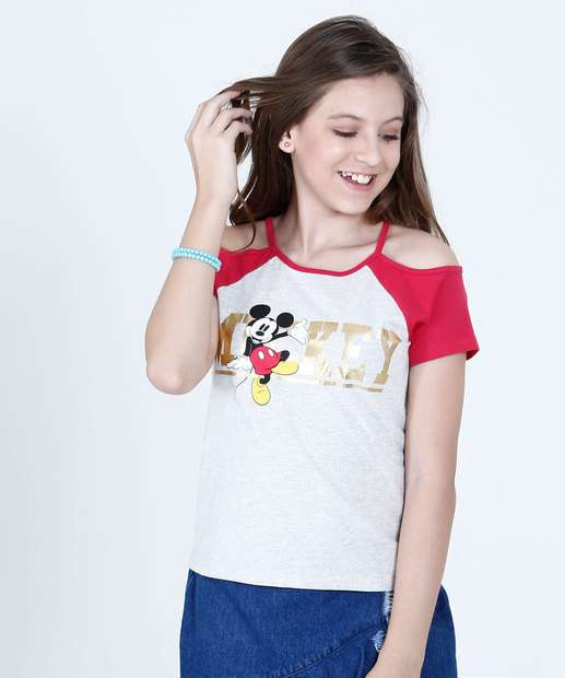 Image_Blusa Juvenil Open Shoulder Mickey Manga Curta Disney