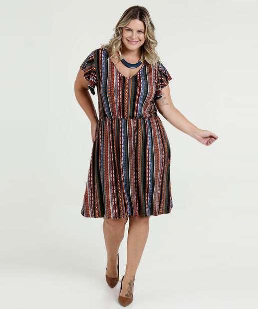 78c00ba5e Vestido Feminino Estampado Plus Size Marisa