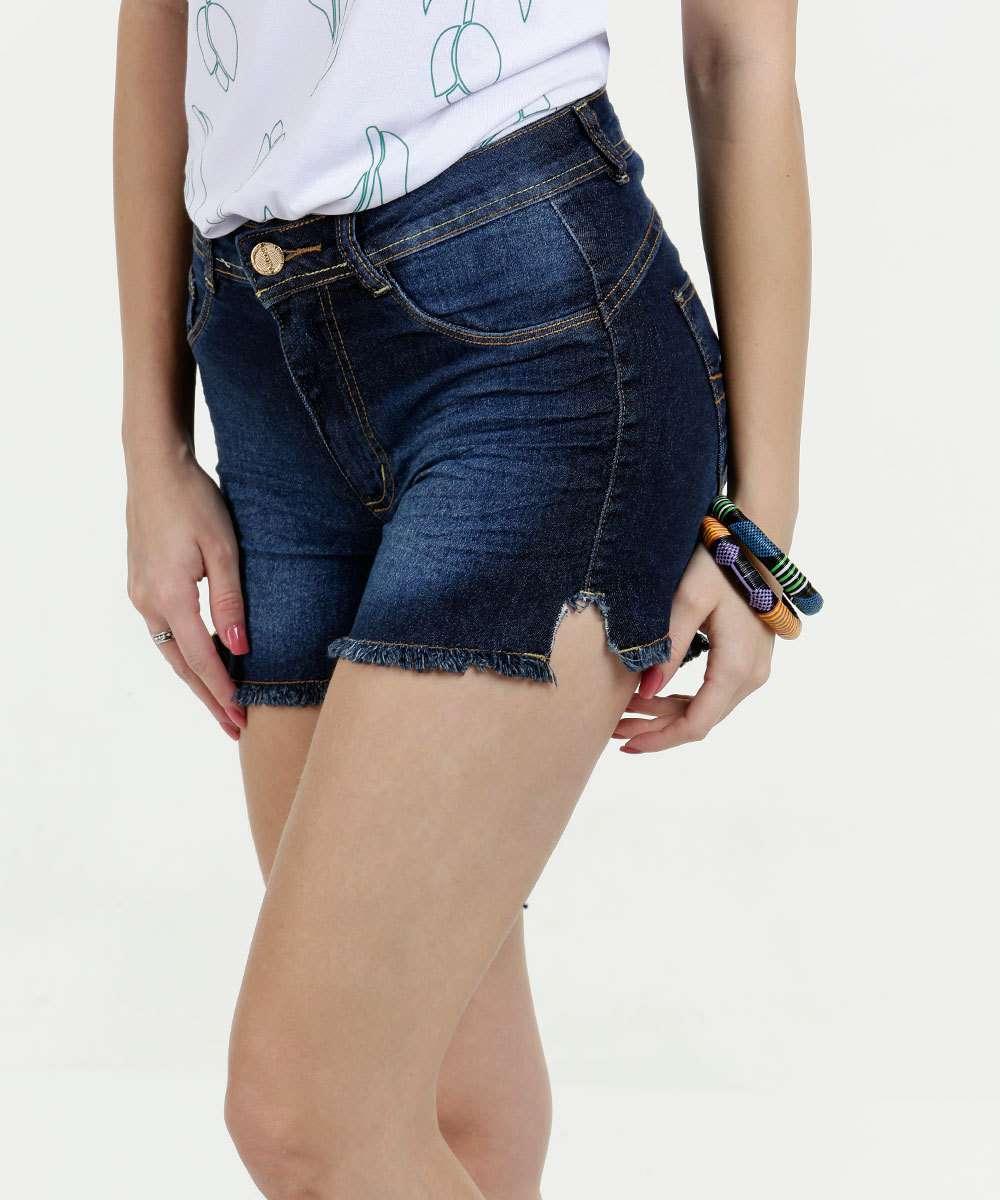 Short Feminino Jeans Desfiado Biotipo