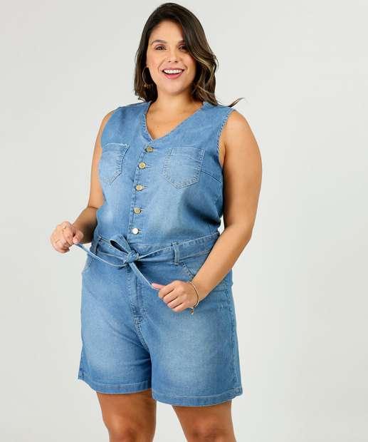 Image_Macaquinho Plus Size Feminino Jeans Tiras Amarração