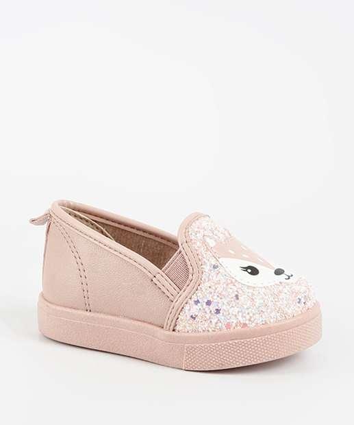 26e0a8660 Tênis Bebê Slip On Glitter Raposa Molekinha