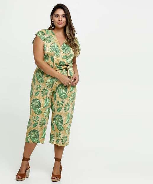 Image_Macacão Feminino Pantacourt Estampa Tropical Plus Size