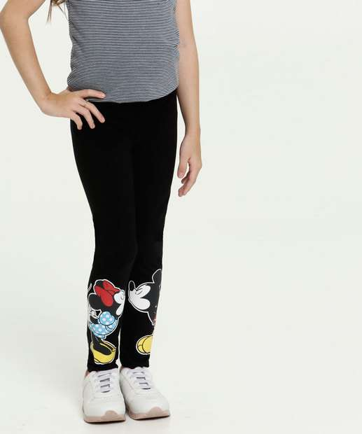 Image_Calça Infantil Legging Estampa Minnie e Mickey Disney