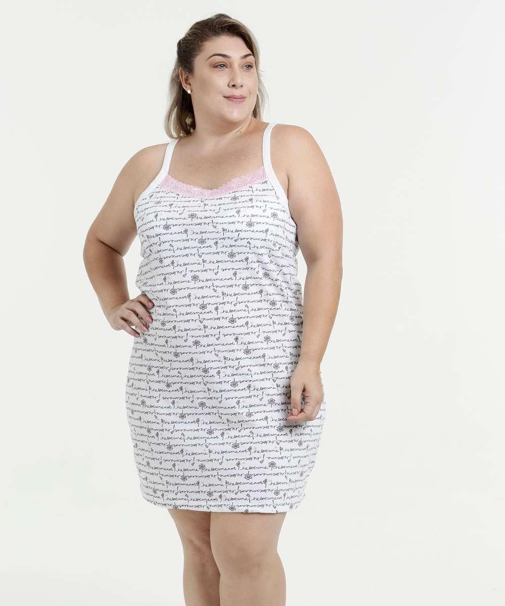 42711f23e 1  2  3  4  5  6. Compartilhar. adicionar aos favoritos produto favoritado. Camisola  Feminina Estampada Plus Size Alças Finas Marisa