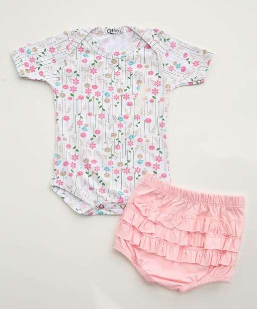 Image_Conjunto Infantil Bebê Estampa Floral Babado