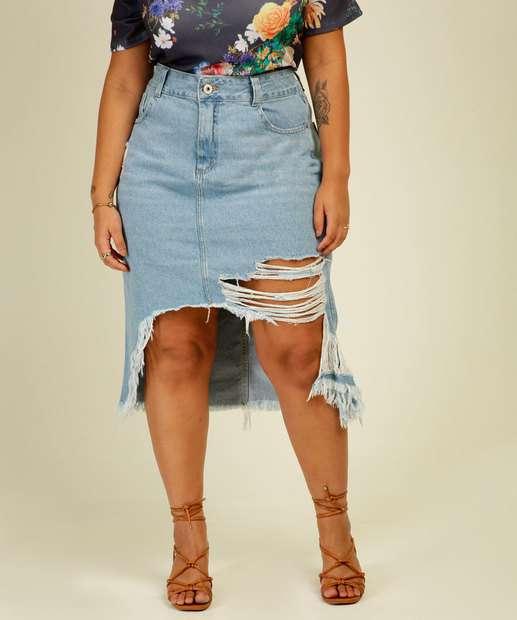 Image_Saia Plus Size Feminina Midi Jeans Destroyed Biotipo