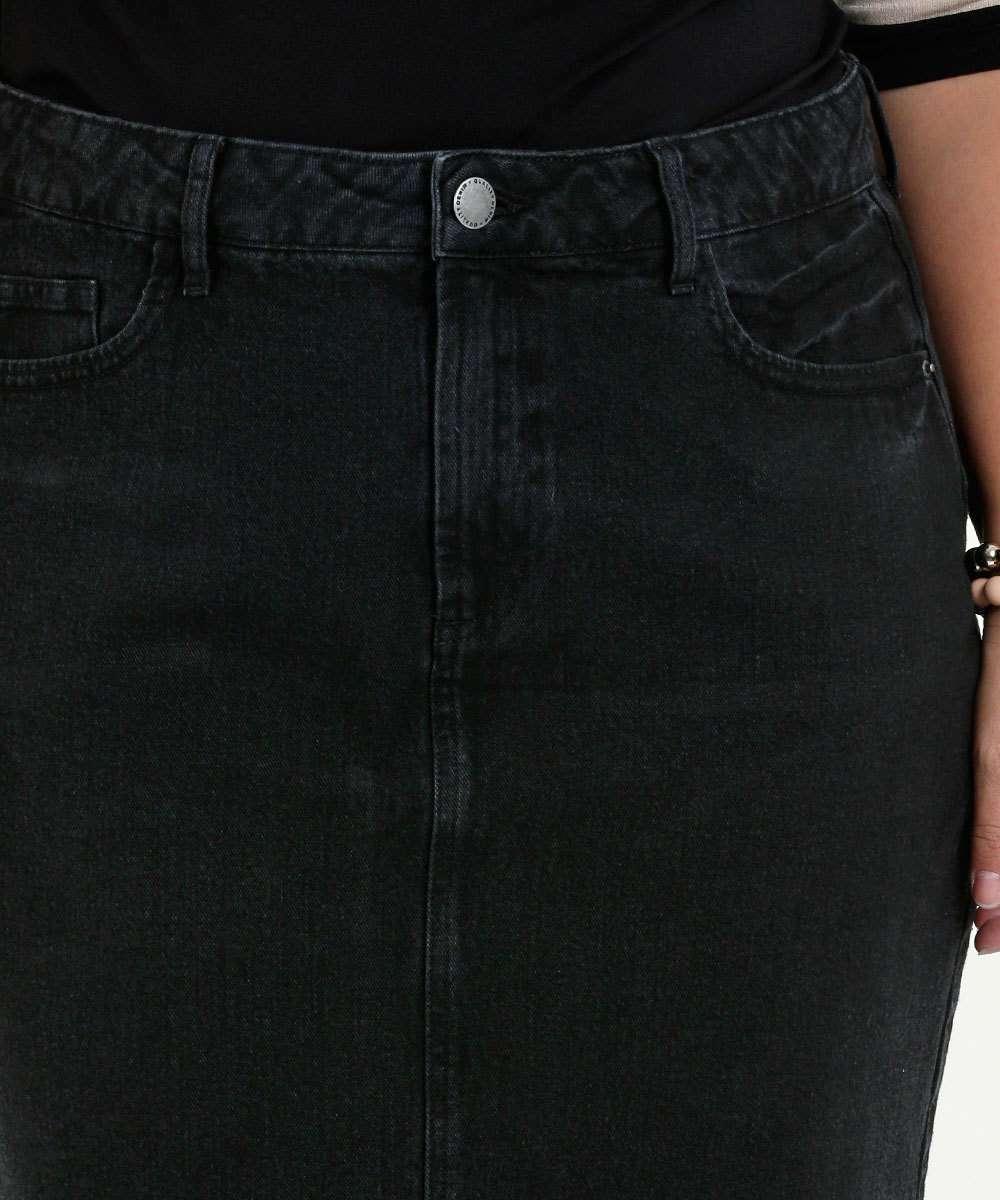 6e844a4ba2 Saia Feminina Jeans Barra Desfiada Plus Size Marisa